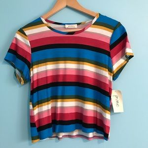 Multicolored striped short sleeve shirt